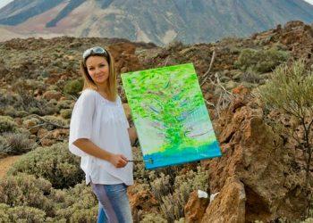 Teneryfa, w tle wulkan Teide. Obraz akryl